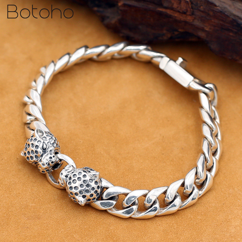925 Sterling Silver Double leopard head Bracelet for Men Punk Rock Charm Chain Bracelet Bangle Fashion Jewelry Father's day Gift solid 925 sterling silver flower fashion charm biker bracelet bangle 9a017