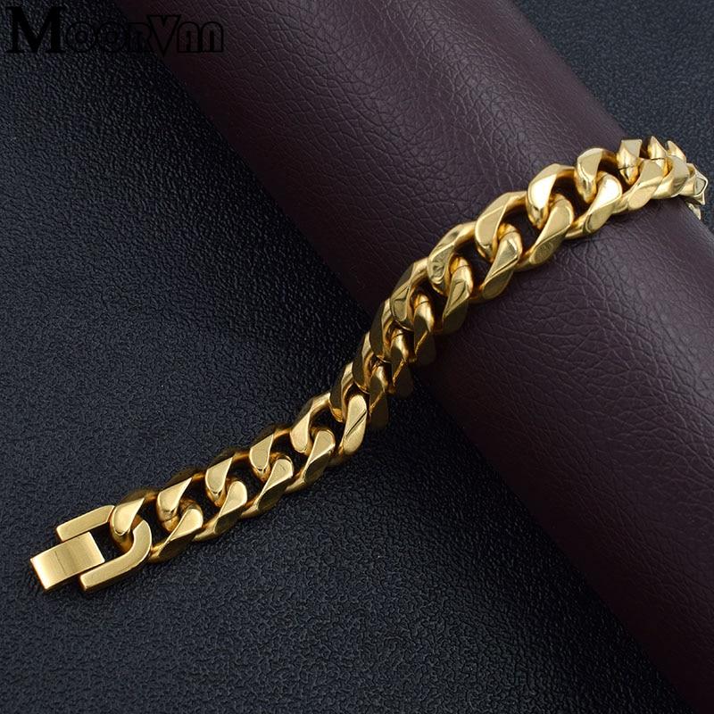 Moorvan Jewelry Men Bracelet Cuban links & chains Stainless Steel Bracelet for Bangle Male Accessory Wholesale B284 38