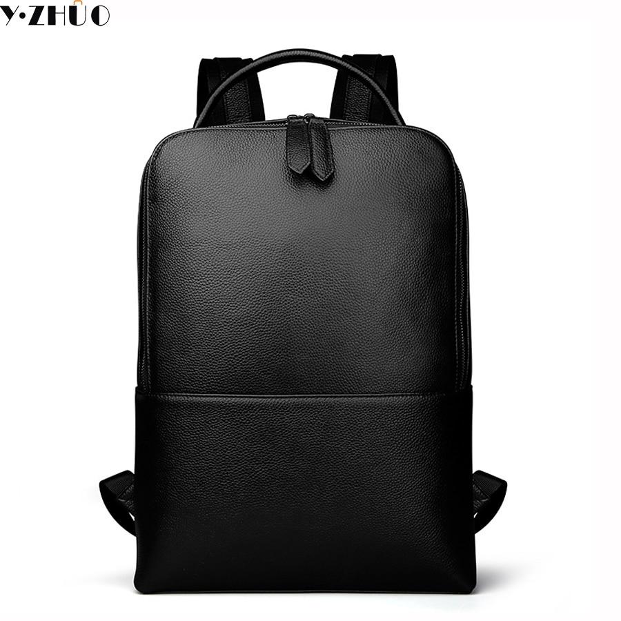 ФОТО genuine leather man bags really cowhide backpacks fashion solid double shoulder bag mochila escolar school Laptop bag 14