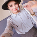 New 2016 Autumn Solid Chiffon Women Blouse Shirt Ladies Big Pockets Loose All-Match Sheer Blouses Long Sleeve Blusas Shirts Tops