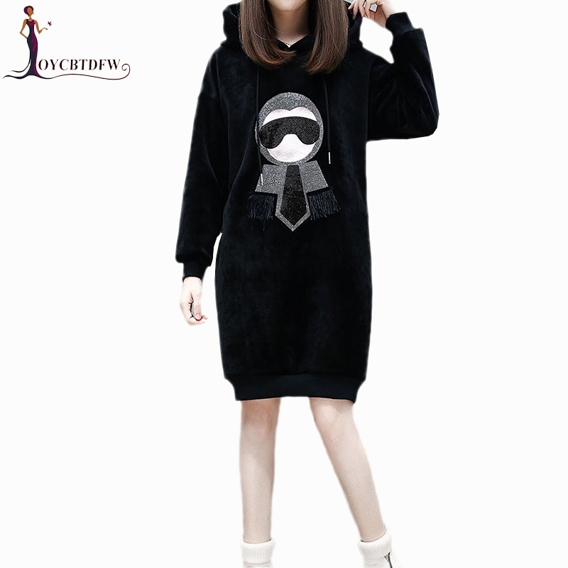 Autumn Winter Women Hoodies 2018 New mediun long pullover coat Comfortable Large size Velvet Hoodies &Sweatshirts Female DD535