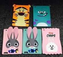 9.7 pulgadas de dibujos animados lindo conejo tigre 3d hero silicio suave hijos de vuelta cubierta case para ipad air 2 coque tablet case para ipad 6