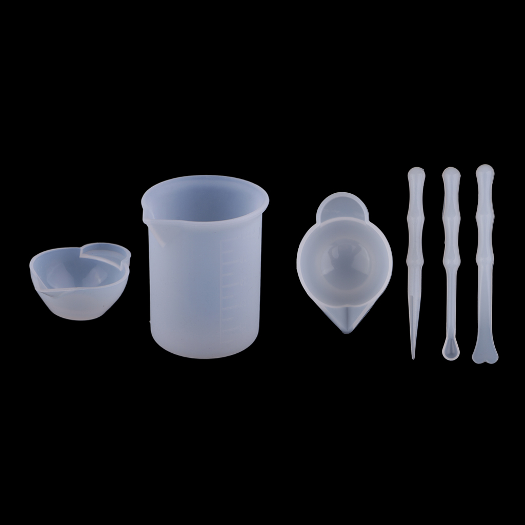 6pcs Silicone Reusable Mixing Measuring Cups Liquid Epoxy Resin Stirring Distribution Hobby Casting Jewelry Making DIY Tools