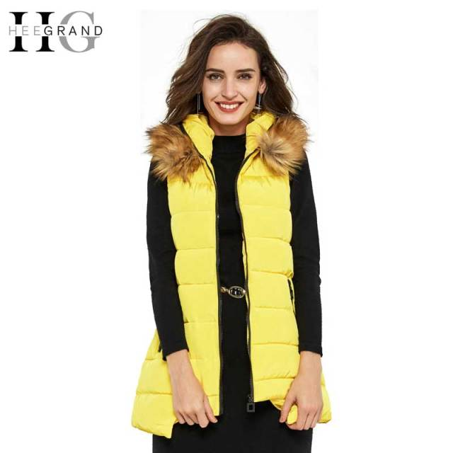 HEE GRAND Colete Feminino 2016 Winter Coats Artificial Fur Collar Casual 6 Colors Zipper Long Hooded Vest Women Outerwear WWV180