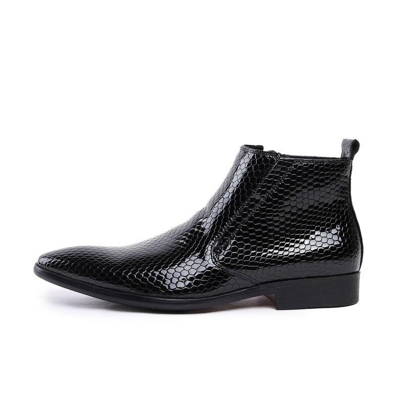 Bout Conception Fashin Verni De Luxe Homme Haute Garde Bureau Hommes D'affaires Bottes En Marque Pointu Cuir Black Robe Travail Chaussures Cheville 5Rjq3L4A