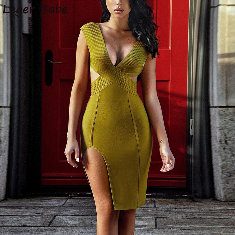 FH10 Olive Green White Red Sexy Cocktail Vestidos Side Split Bandage Knee  Length Cut Out Deep V Neck Sleeveless Party Dress e0cce18c7b3b