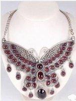 Tibet Bijoux Grenat gemme Grand papillon pendentif Collier Collier naturel Plaqué de Femmes en gros