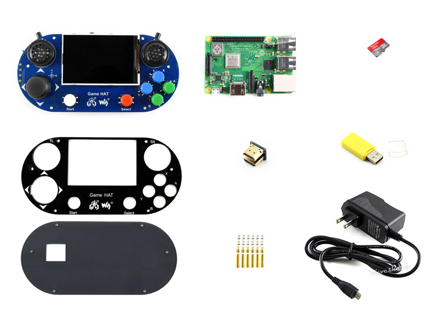 Kit de développement de Console de jeu vidéo Waveshare G Raspberry Pi 3 modèle B + Micro 16 GB carte SD prend en charge Recalbox/Retropie