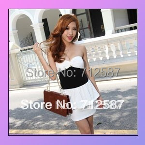 fitted low-cut leopard sexy ClubWear Mini Dress chest wrapped White 1pcs 2 colors