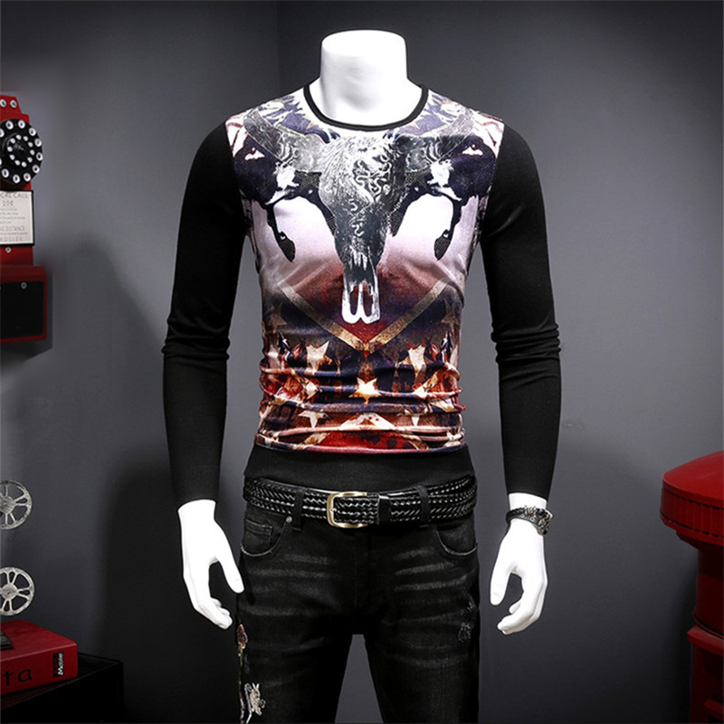 Luxury Sweater Velvet Autumn Men Casual Fashion Soft Print Pleuche Patchwork M-XXXL Boutique