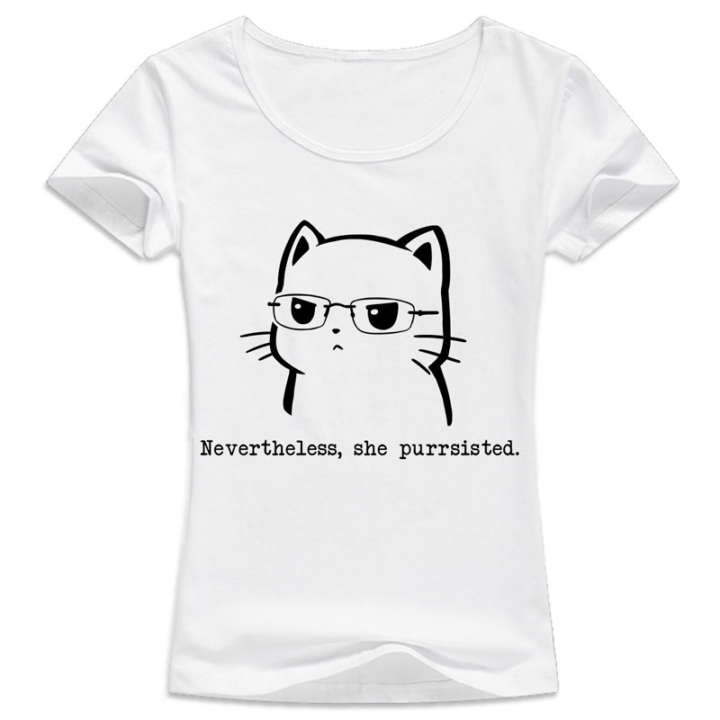 cat t shirt female funny cute cat Design Print girl T ...