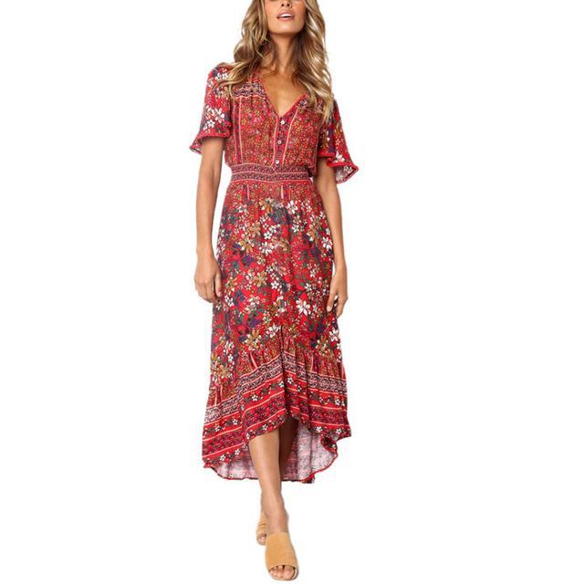 Women Dress Short Sleeve V...