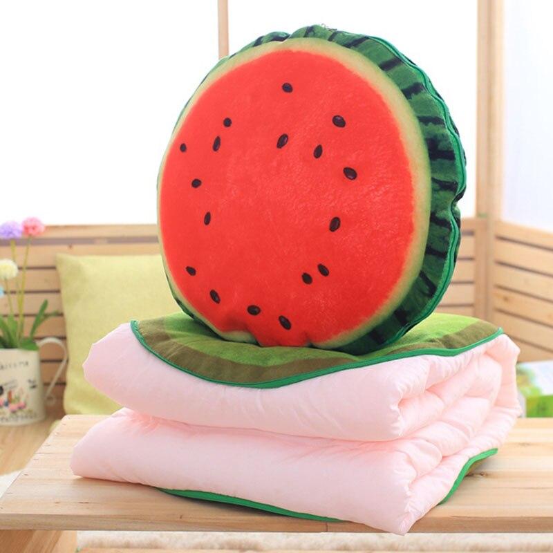 Creative 3D Watermelon Kiwi Print Pillow Fruit Cushion Car Office Airconditional 2 in 1 Pillow Quilt