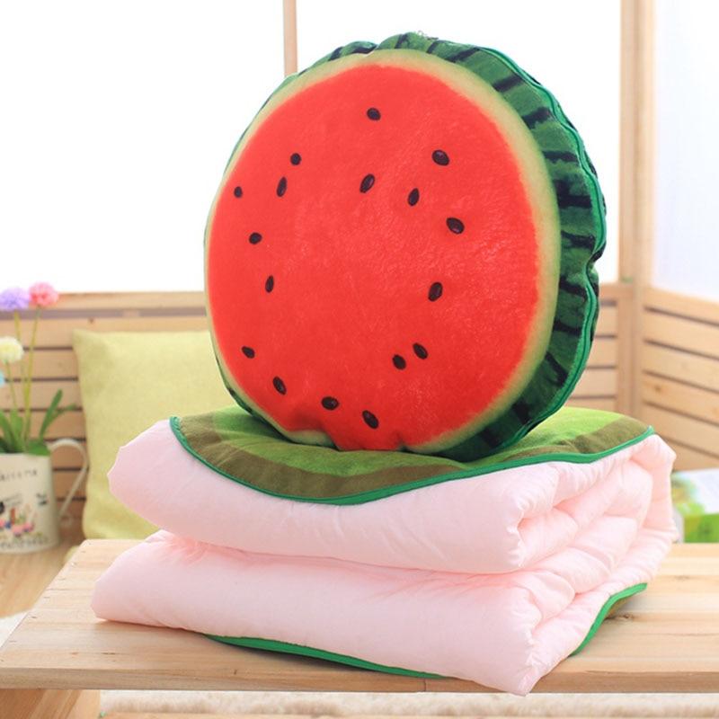 Creative 3D Watermelon Kiwi Print Pillow Fruit <font><b>Cushion</b></font> Car Office Airconditional 2 in 1 Pillow Quilt Throw Pillow <font><b>Home</b></font> Decor