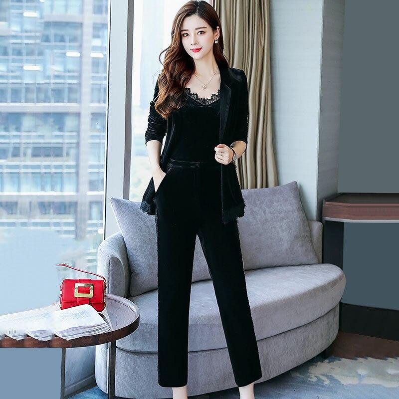 Nouveau Costume Coréenne Pantalon Pieds Longues pièce La Deux Version Automne Femmes Casual À Manches Mode 1 De ST8xwgd5q