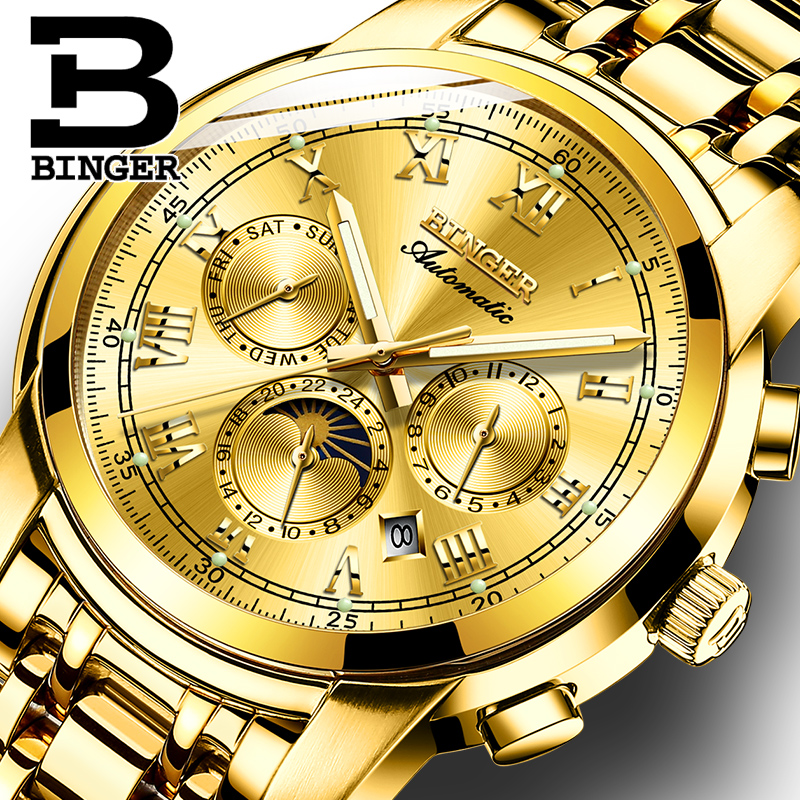 Switzerland Automatic Mechanical Watch Men Binger Luxury Brand Men s Watches Sapphire Clock Waterproof relogio masculino