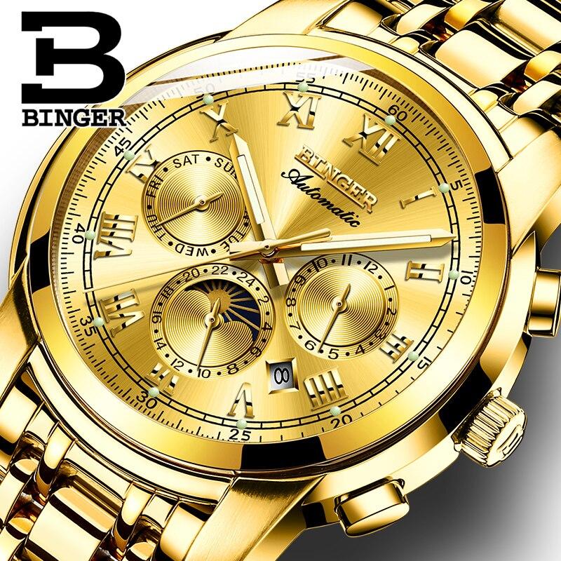 Швейцария автоматические механические часы для мужчин Бингер Элитный бренд мужские сапфир часы водонепроница relogio masculino B1178-7