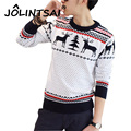 2016 Winter New Arrival Mens Sweater with Deer Fashion O-Neck Pullover Knitted Dot Christmas Sweater Men Christmas Clothing