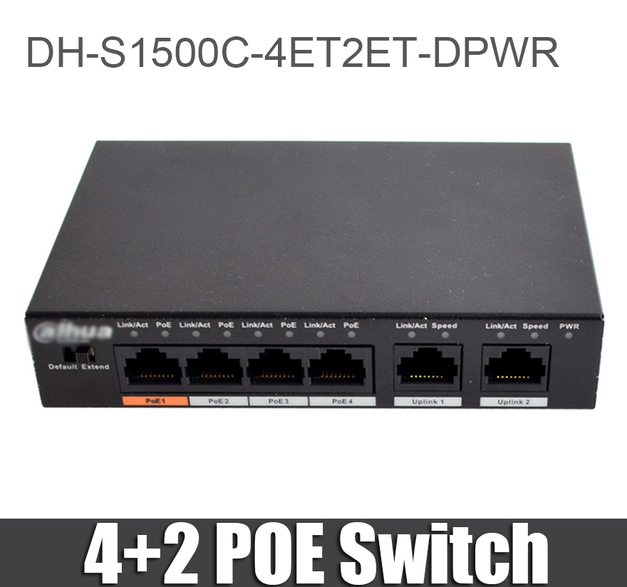 Dahua DH S1500C 4ET2ET DPWR 4CH Ethernet Switch with 250m Power Transit Distance Support PoE PoE