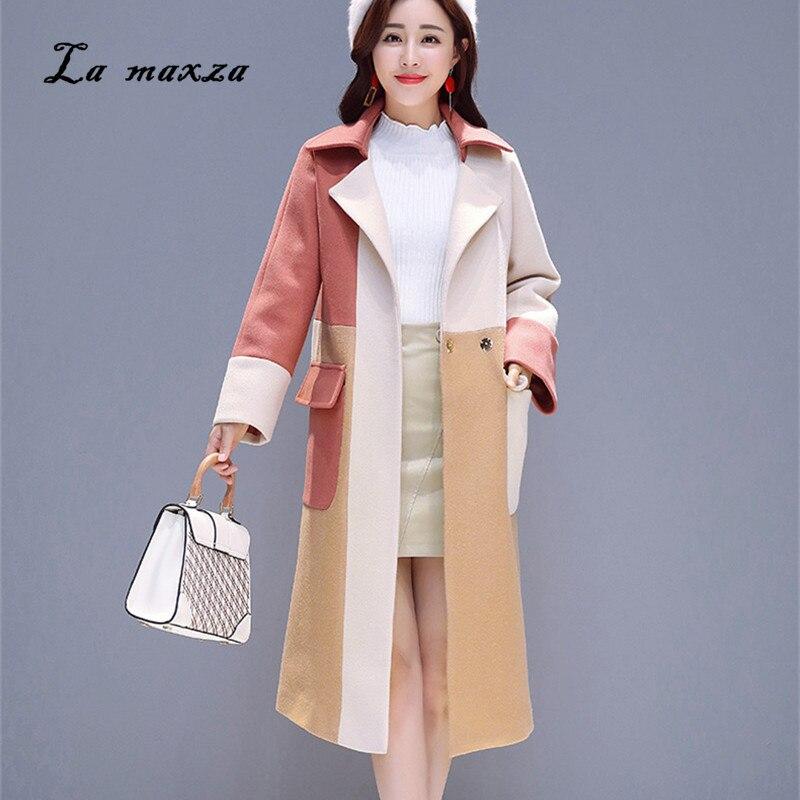 Estilo Negro Coreano Chaqueta Cuadros Mujer rojo Elegante De Lana Abrigos  Casual Invierno naranja Moda Vintage Caliente qwBO0PY e3a3baab065f
