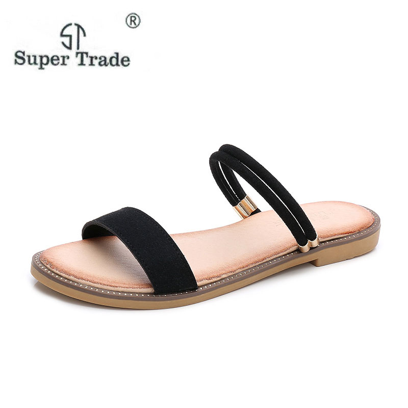 8a1eac2f421c23 2018 New Summer Word With Cool Shoes Female Simple Fashion Flat Shoes Beach Shoes  Large Size 35 41 Women Sandals Summer Shoes-in Women s Sandals from Shoes  ...