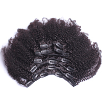 Afro Kinky Curly Hair Clip In Human Hair Extensions 7 Pcs 100% Brazilian Human Hair Natural Color Clip Ins Remy Hair CARA