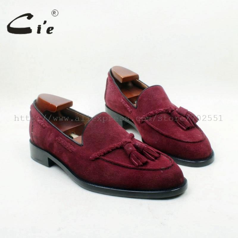 CIE dedo del pie redondo 100% Cuero auténtico OUTSOLE bespoke adhesivo arte hecho a mano vino Suede borlas slip-en el zapato de los hombres no. mocasines 160
