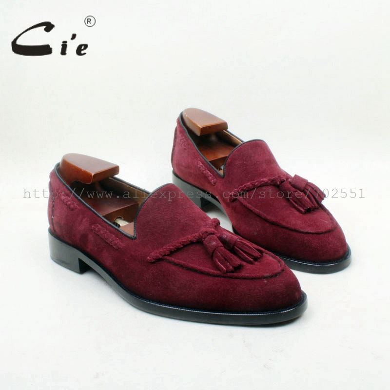 cie جولة تو 100٪ جلد طبيعي تسولي مفصل الحرفية اليدوية النبيذ سويدي الشرابة الانزلاق على حذاء رجالية no.