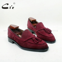 cie Round Toe 100% Genuine Leather Outsole Bespoke Adhesive Craft Handmade Wine Suede  Tassels Slip on Mens Shoe No.loafer 160