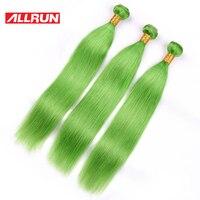 Allrun חלק בחינם סגירת תחרה ישר שיער מלזי 3 יחידות דשא ירוק הארכת שיער רמי שיער אדם חבילות עם סגירה