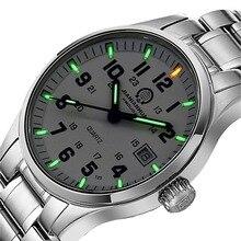 Carnival  Mens H3 Tritium Watch Men Luminous Sapphire Glass Steel Band 3ATM Waterproof Military Sports Watches Green Light Gift