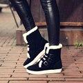 2016 NUEVAS Mujeres de Invierno Botines con cordones de Punta Redonda Mujeres Planas Botas de Moda de Cuero de Gamuza Zapatos de Las Mujeres Grandes tamaño 34-43