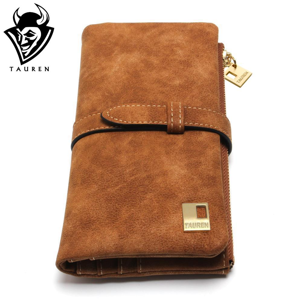 2017 new fashion women wallets drawstring nubuck leather zipper wallet women s long design purse two