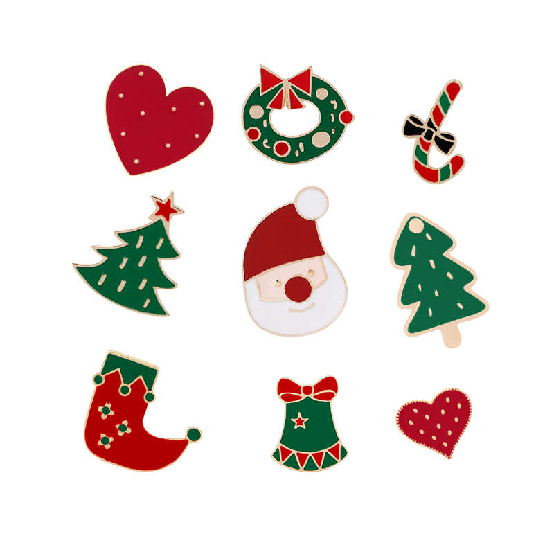 231e864e6c789 Santa Claus Cane Candy Bells Christmas Tree Cute Knitted Mini Hat Brooch  Heart Enamel Pins Sweater