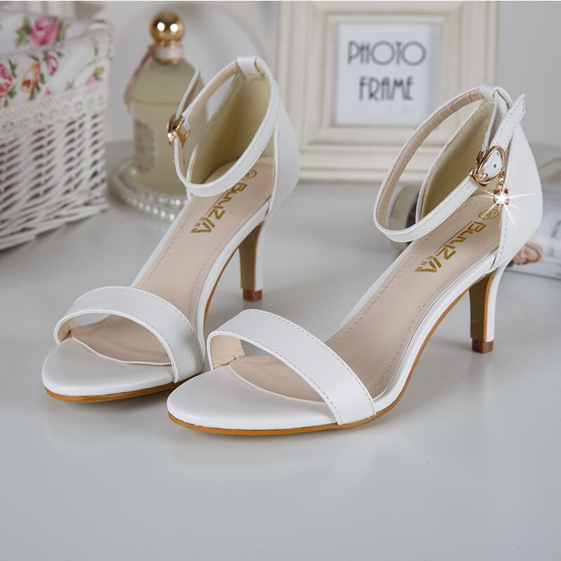 2016 White Hasp Sexy Women Sandals Cozy High Heels Ladies Pumps Shoes Woman Sandalias Mujer Sandales Femme Summer style