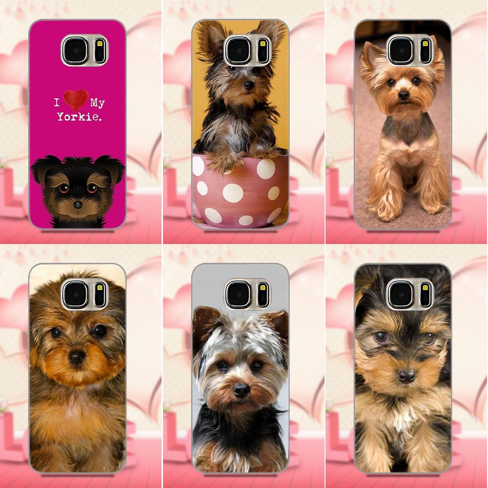Oedmeb TPU Phone Cases Covers For Galaxy A3 A5 A7 J1 J3 J5 J7 2016 2017 S5 S6 S7 S8 S9 edge Plus I Love My Yorkie Dog Puppies