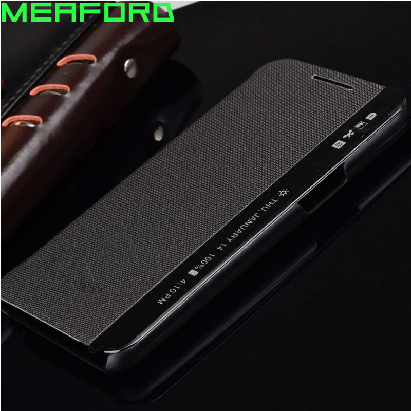 For Fundas LG X Power Case Smart Quick Answer Cover Side View Window Sleep Leather Flip Case For LG X Power K220DS Xpower K210(China)