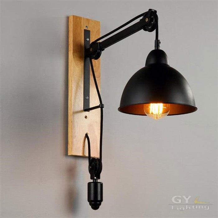Amerikanischen Retro Loft Eisen Lampe Wohnzimmer Restaurant Nacht Aisle Balkon Heberolle Wandleuchte Lichter Led