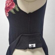 Mode Sexy Noir Débardeur Femmes coton Floral patch dans broderie gilet Col En V Profond Manches Tops d'été Beachwear Tops blanc