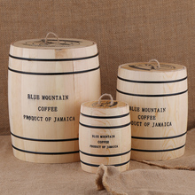 קפה שעועית 0ak חבית אחסון אטום מיכל עץ קפה שעועית או טענה מטבח תיבה