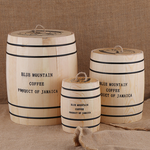 Image 1 - Coffee Beans 0ak Barrel Storage  Airtight Wooden Container For Coffee Beans or Grounds  Kitchen Box
