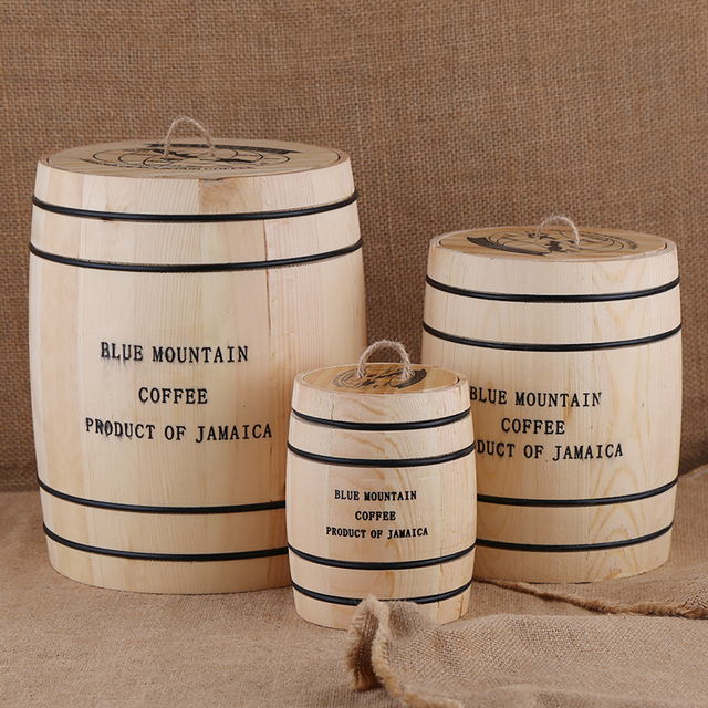 Coffee Beans 0ak Barrel Storage  Airtight Wooden Container For Coffee Beans or Grounds  Kitchen Box