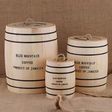 Recipiente hermético de madera para granos de café, contenedor de almacenamiento de barril de 0ak, para granos de café o mosos, caja de cocina