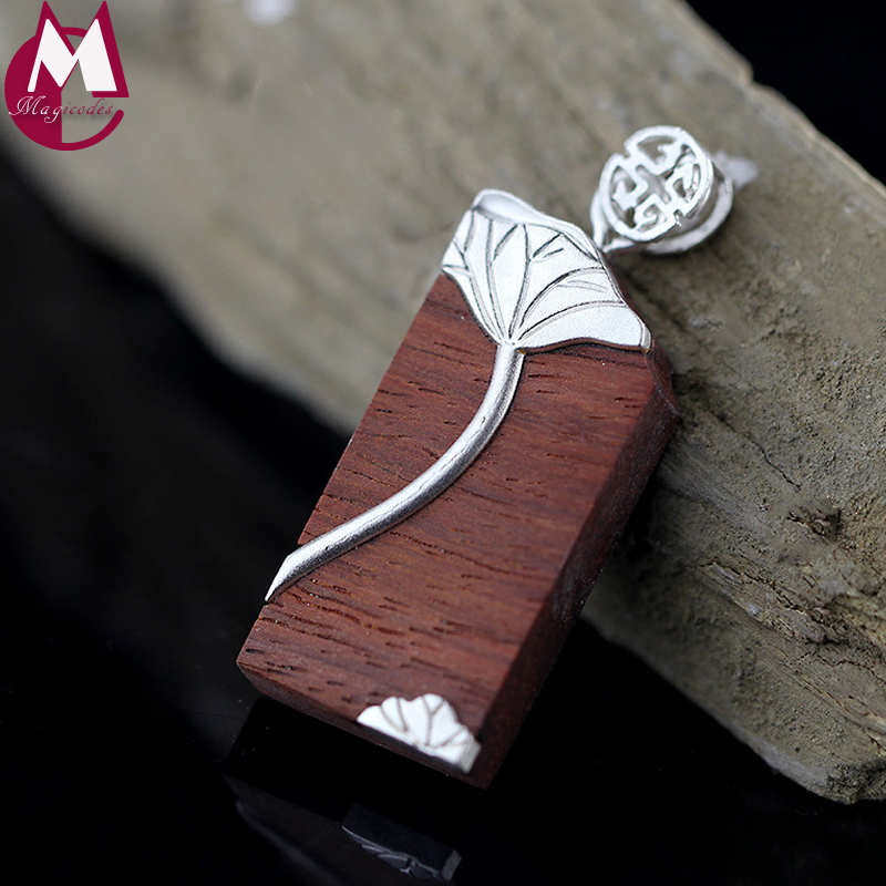 Handmade Vintage Wood Elegant Lotus Leaves 990 Sterling Silver Jewelry Buddhism Geometry Charms Necklaces Pendants For Women цена