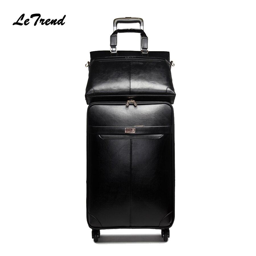 Letrend, новинка, мужской деловой чемодан на колёсиках, набор чемоданов на колесиках, Женский чемодан на колесиках из искусственной кожи, Ретро