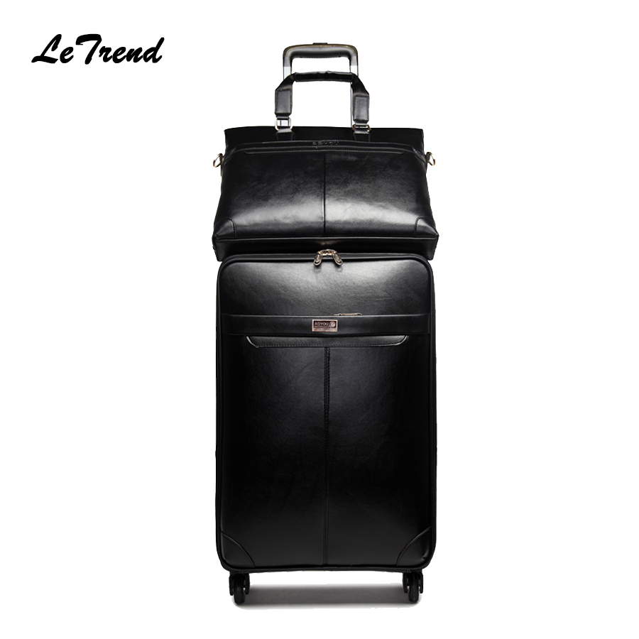 Letrend New Men Business Rolling Luggage Set Suitcases On Wheels Women Trolley PU Leather retro Trunk Cabin Luggage Travel Bag держатель для очков в авто cyb abs