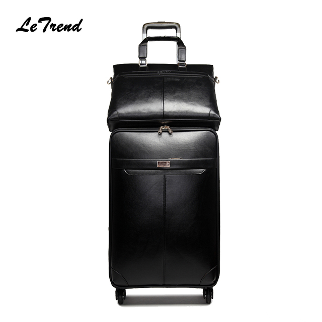 f90eefaec68c Letrend New Men Business Rolling Luggage Set Suitcases On Wheels Women  Trolley PU Leather retro Trunk