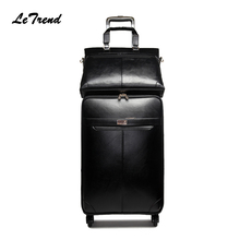 Letrend New Men Business Rolling Luggage Set Suitcases On Wheels Women Trolley PU Leather retro Trunk Cabin Luggage Travel Bag
