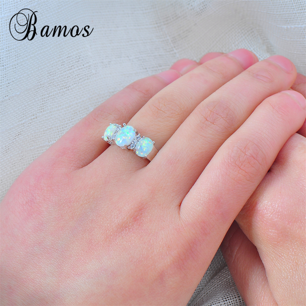 Bamos New Sale Unique Round Fire Opal Ring White Gold Filled Crystal ...