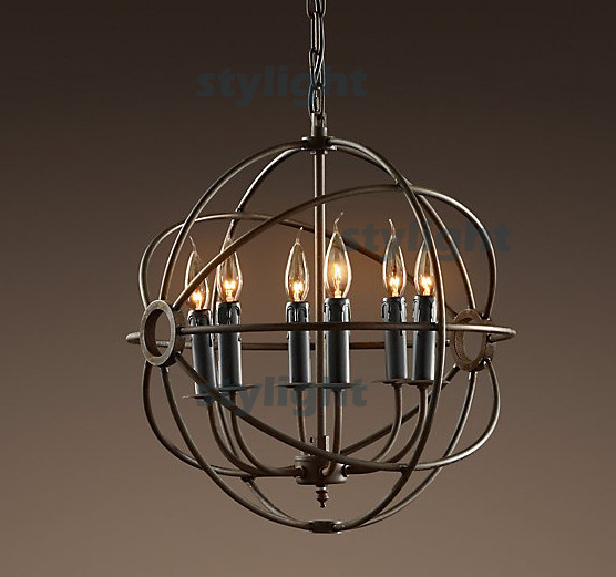 Hot selling Vintage Pendant Lamp gyro FOUCAULT'S IRON ORB CHANDELIER RUSTIC IRON Loft light Diameter 50cm